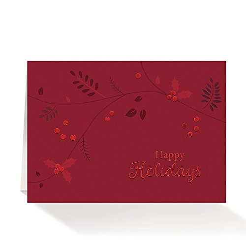 Pack of 25 Wall Street Greetings Red Foil Holly Leaves 5x7 holiday cards with 25 ivory gold foil- lined envelopes (Foil Envelopes Gold Ivory)