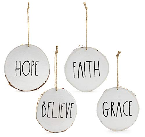 Set of 4 Modern Farmhouse Rustic Rae Dunn Inspired Christmas Ornaments with