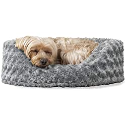 FurHaven Pet Dog Bed | Oval Ultra Plush Pet Bed for Dogs & Cats, Small, Gray