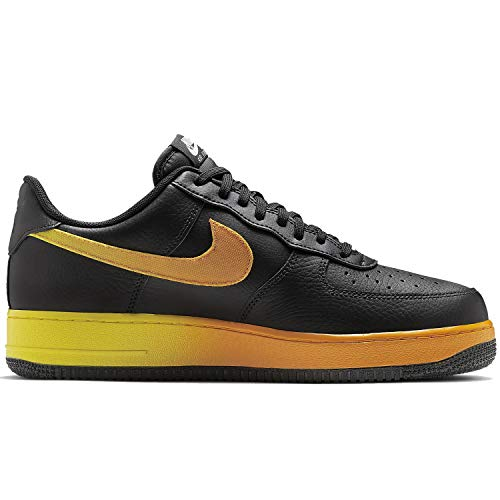 Nike Men's Air Force 1 '07 LV8 Black/Opti Yellow/Orange Peel CJ0524-001 (Size: 9) (Nike Orange Shoes And Yellow)