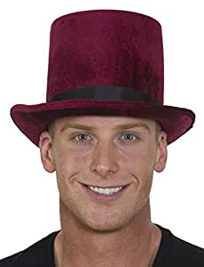 Jacobson Hat Deluxe Velvet Tall Top Hat Victorian Dickens Roaring 20s Formal Costume Magician,Burgundy,One Size