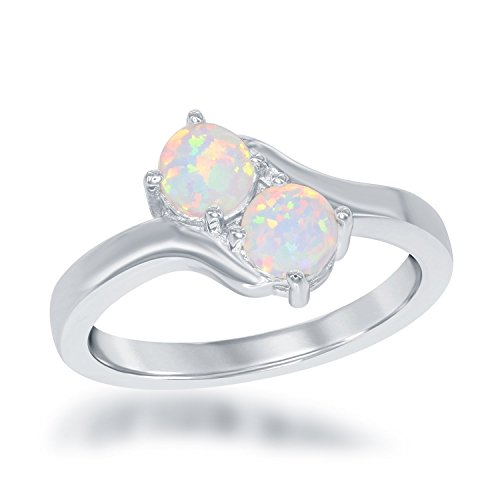 Created White Opal Stone - Beaux Bijoux Sterling Silver Two-Stone Forever Created White Opal Ring (Size 7)