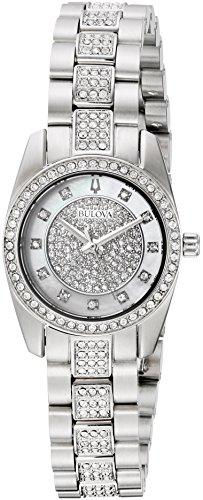 - Bulova Women's Swarovski Crystal Quartz Watch with Stainless-Steel Strap, Silver, 12 (Model: 96L253)