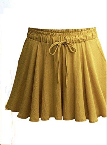 Moda Alta Pants Freestyle Shorts Giallo Vita con Corto Hot Larga Gamba Casual Estivo Donna Pantaloncini Giovane Pantaloni Baggy a Coulisse Ycw68Yq