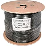 InstallerParts 1000 Ft CAT 5E 350MHz Shielded Direct Burial Outdoor High Performance ETL Listed Type CMX Data Cable -- Black Jacket