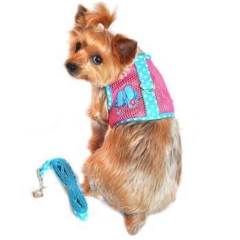 Doggie Design Cool Mesh Dog Harness Under the Sea Collection - Flip Flop Pink & Blue (M (16