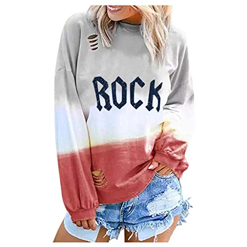 Pumsun Womens Rock&ROLL O Neck Letters Printing Long Sleeve T-Shirt Casual Tunic Shirt Tops Blouse (Red C, XXL)