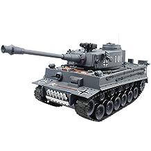 Hugine 15 Channel 1/20 RC Tank Panzerkampfwagen German Tiger Main Battle Tank Model With Shoot Bullet (Blue)