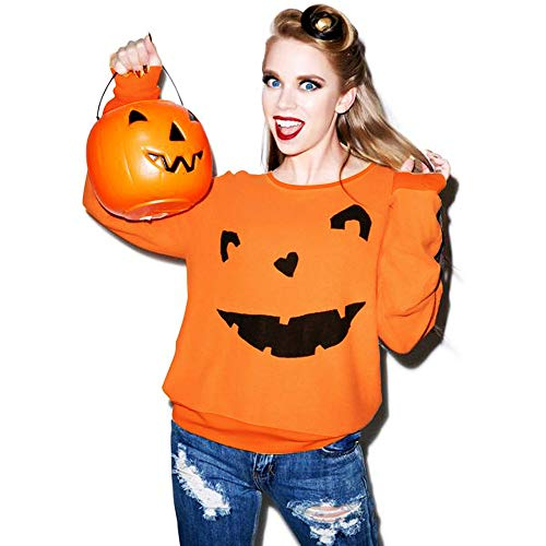 Halloween Costumes For Women, Pervobs Women Halloween Pumpkin Print Loose Long Sleeve O-neck Pullover T-Shirt Blouse(XL, Orange -