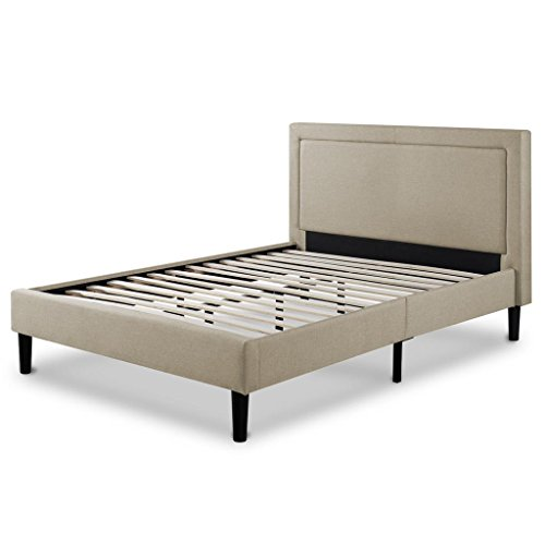Zinus Upholstered Detailed Platform Bed with Wooden Slats, Full