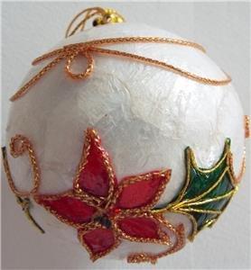 Beautiful CAPIZ SHELL CHRISTMAS BALL Ornament ()