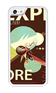 Apple Iphone 5C Case,WENJORS Adorable Vintage Space Poster Series I Explore Space Its Fun Soft Case Protective Shell Cell Phone Cover For Apple Iphone 5C - TPU White