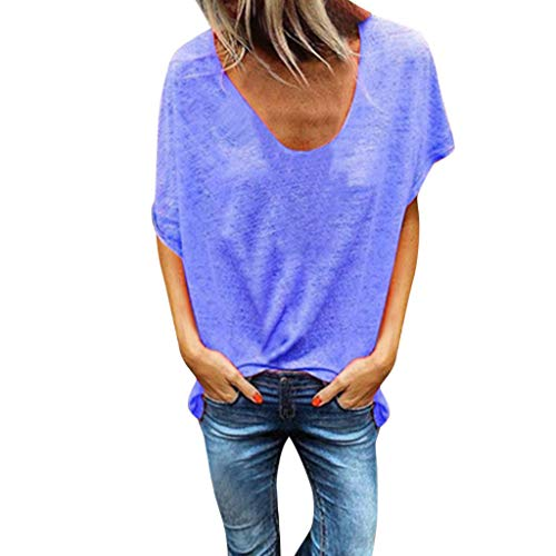 Tantisy ♣↭♣ Woman Pure Color Top V-Neck Short Sleeves T-Shirt Lady Plus Size Tunics Shirt Blouses Tops/S-5XL Blue