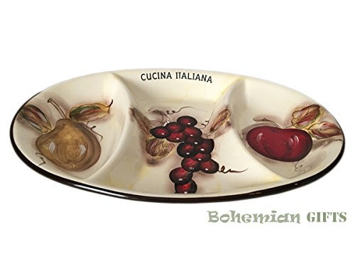 (Classic Cucina Italiana Ceramic 3 Section Appetizer Oval Serving Tray Serving Dish White Soft Fruit Décor)