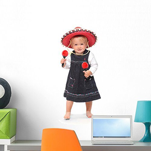 Little Girl Singing and Wall Mural by Wallmonkeys Peel and Stick Graphic (24 in H x 17 in W) (Mariachi Dancer Kids Costumes)