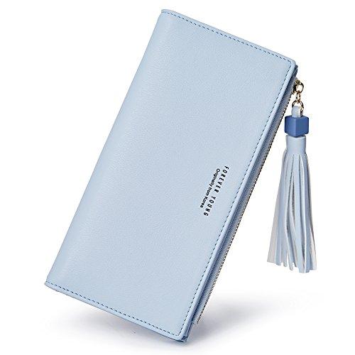 Womens Blue Wallet (Wallets for Women Fashion Soft Leather Billfold Long Clutch Ladies Credit Card Holder Organizer Purse blue)
