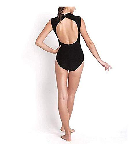Agoky Big Girls Turtle Neck Lace Back Retro Dancewear Ballet Gymnastics Leotard Costumes Black (Mock Neck) 12-14
