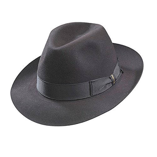 Borsalino Beaver Fur Felt Hat - Dark Grey Medium Brim - Charcoal Grey - 59