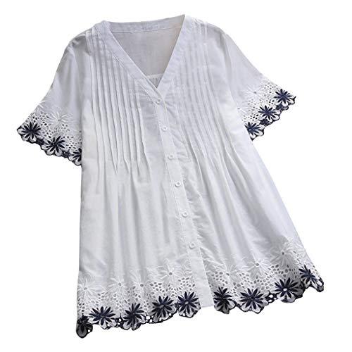 YKARITIANNA Women Plus Size Vintage Short Sleeve V-Neck Lace Button Top T-Shirt Blouse White