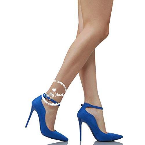 Dress Heel Pumps Ankle Dorsay Toe Bluev1 Heart Shoe Stiletto Guilty High Stiletto Sexy Buckle Strap Suede Pointed Womens 8RxqUZP