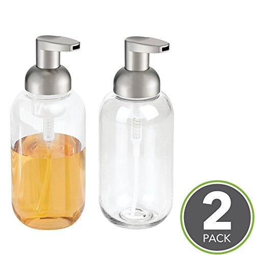 mDesign Foaming Soap Dispenser Pump - Pack of 2, Clear/Brushed Nickel ()