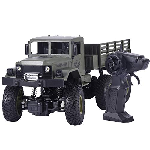 RC Military Truck All Terrain Remote Control Military Off Road Trucks Vehicle Rechargeable Batteries Great Gift for Kids Boys RC Cars 2.4G 4WD 1/18 Remote Control Car(Army Green)