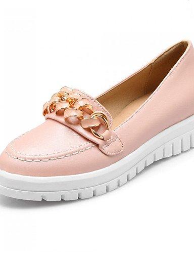 ZQ Zapatos de mujer - Tacón Plano - Punta Redonda - Mocasines - Exterior / Casual / Vestido - Semicuero - Negro / Rosa / Blanco / Plata , silver-us9 / eu40 / uk7 / cn41 , silver-us9 / eu40 / uk7 / cn4 white-us5.5 / eu36 / uk3.5 / cn35