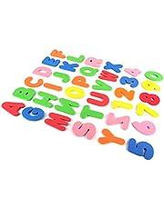 Atrumly Lär dig badleksak, skumbad bokstäver och siffror leksaker, 36 st skum flytande badkar klistermärken baby pedagogisk badrumsleksak (bokstäver A-Z; nummer 0–9)