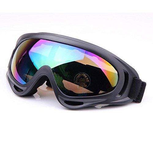 Ehonestbuy Adjustable UV Protective Motorcycle Goggles Anti-Fog Protective Ski Goggles Military Sunglasses Outdoor Tactical Goggles to Prevent Particulates in Grey Lens (Colorful)