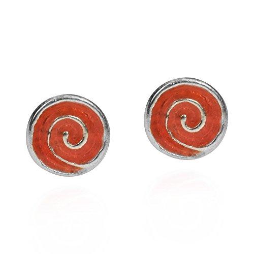 Hypnotic Swirl - Hypnotic Swirls Orange Enamel Swirl .925 Sterling Silver Stud Earrings