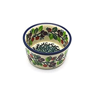 Polish Pottery Ramekin – Burgundy Berry Green