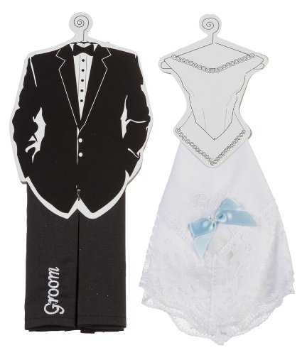 Darice VL2030 Bride and Groom Hankie Set, Black/White, 2 Per (Bridal Hankie)