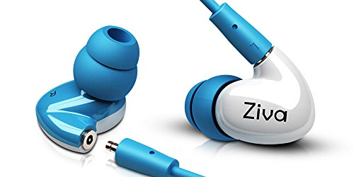 Ziva Indulge Dual Dynamic Driver Detachable Cable Musician's in Ear Monitors, White/Blue