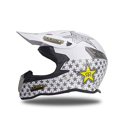 Woljay Dual Sport Off Road Motorcycle helmet Dirt Bike ATV D.O.T certified Rockstar White (L)