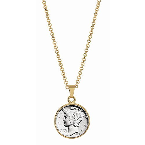 Dime Pendant (American Coin Treasures Silver Mercury Dime Goldtone Coin Pendant with 18