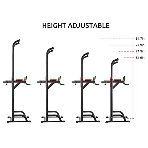 Adjustable Fitness Power Tower, Multi Function Strength Training Workout Station for Push Up, Pull Up, Dip, Vertical Knee Raise (VKR) Station in Home Gym Office [US STOCK]