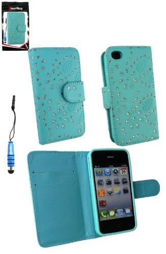 Emartbuy® Pack Stylet Pour Apple Iphone 4 4G 4Gs Diamante Wallet Case / Étui / Housse / Bleu Pouch Avec Emplacements Pour Les Cartes De Crédit + Mini Metallic Bleu Stylet + Protecteur D'Écran Lcd