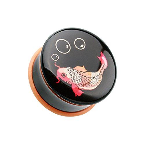 Retro Koi Fish Single Flared WildKlass Ear Gauge Plug (Sold as Pairs)