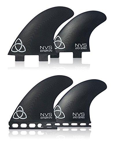 Naked Viking Surf NVS: Medium/Large Bronn Quad Apex Series Surfboard Fins (Set of 4) Futures Base - G10 Fin Set