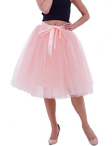Women's Solid A Line Midi/Knee Length Tutu Skirt 6 Layered Pleated Tulle Petticoat Dance Tutu(Peach),One Size]()