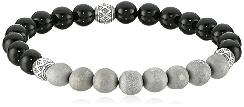 Men's Sterling Silver Oxidized Genuine Agate Druzy and Black Agate 8mm Gemstone Bead Bracelet, 7.5