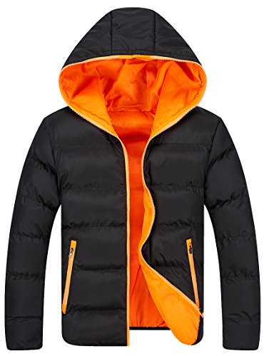 COLORY Men's Winter Casual Lightweight Quilted Hooded Jacket (L, Blk&Org)