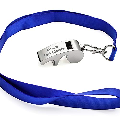 OnePlace Gifts Personalized Coach Whistle with Lanyard, Bottle Opener and Key Ring, Custom Team Sports Whistle, Safety Survival Whistle Engraved