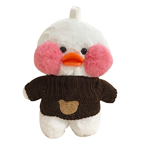Fanned Plush Figure Toys Duck Stuffed Animal Lalafanfan Cafe Mimi The Internet Star Mini Yellow Duck Pink Cheek 11.8 inches (Bear Head ()