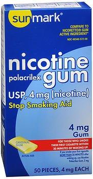 Original Flavor Lozenges - Sunmark Sunmark Nicotine Polacrilex Gum Original, Original Flavor 50 each 4 mg