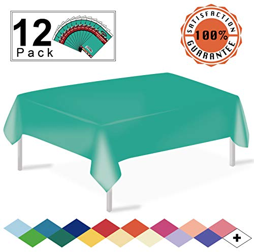 - 12 Pack Plastic Tablecloth Teal Disposable Table Covers Premium 54 x 108 Inches Table Cloth for Rectangle Tables up to 8 Feet and for Picnic Birthdays Weddings any Events Occasions, PEVA Material