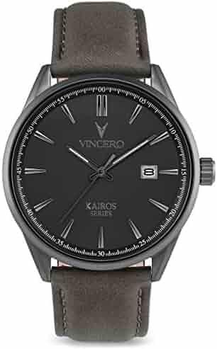9ff72650da53 Vincero Luxury Men s Kairos Wrist Watch - Top Grain Italian Leather Watch  Band - 42mm Analog