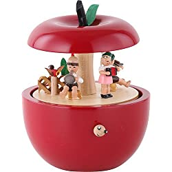 ISDD Cuckoo Clocks Mechanical Music Box Apple Concert Children, It's a Small World, Original Erzgebirge Richard Glaesser Seiffen