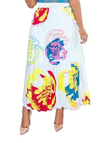 Choichic Women's A Line Pleated Skirts Casual Multicolor Graffiti Cartoon Printed Elastic Waist Swing Midi Dresses Medium White