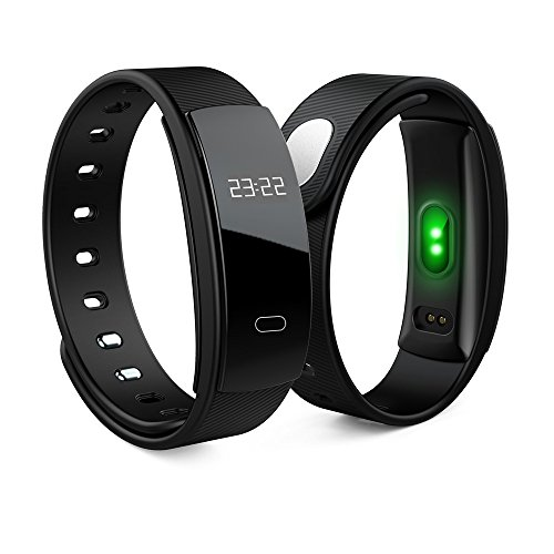 Activity Tracker QS 80 Bluetooth Band OLED Heart Rate Smart Bracelet for iPhone & Android Phones (Ink Black)